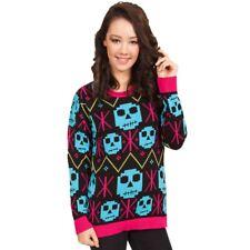 Flip Flop & Fangs Pixel Snowflake Zombie Skull Black & Pink Trim Knitted Jumper