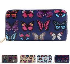 Damas Chicas Mariposa de impresión Monedero Billetera Mujer Solo Doble Cremallera Fiesta Carteras