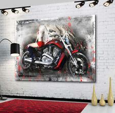Harley Davidson Motorräder Frau Abstraktes Bilder Leinwand Wandbild XXXL1931A