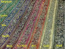 32mm  Fancy Gold Sequin Indian Lace Trim Mash Ribbon Craft Sari Border-1Yard
