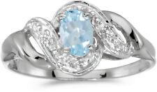 14k White Gold Oval Aquamarine And Diamond Swirl Ring (CM-RM1190XW-03)