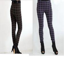 WOMENS Brown Purple Retro WAIST FULL LENGTH LEGGINGS PANTS Trousers