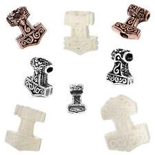 Wikinger Haar Bartperle THORBART Thorshammer Bronze oder Sterlingsilber, Knochen