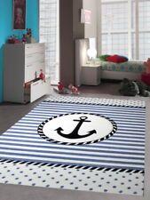 Kinderteppich Maritim Kinderzimmerteppich Jungen Teppich mit Anker in Blau Creme
