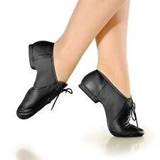 So Danca JZE15 Black Lace up Leather Split Sole Jazz Shoes