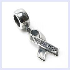 STR Silver Breast Cancer Ribbon Awareness Dangle Bead f/ European Charm Bracelet