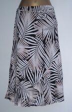 New Ladies M&Co Black Brown Beige A-Line Midi Skirt with Palm Print  8 - 20