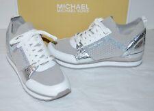 New $165 Michael Kors Billie Knit Trainer Fabric Aluminum/White/Silver Sneaker