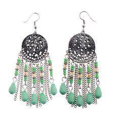 Vintage Bohemian Boho Spring Color Resin Beaded Tessel Drop/Dangle Lady Earrings