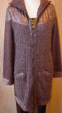 ANAC Warmer Themed Hooded Sweater Coat Jacket with Zip Front Acrylic/Nylon/Wool
