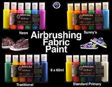 Airbrush Fabric Paints Fabric Airbrush Inks 6 x 60ml Air Brush Ink Neon Fluro