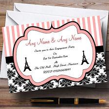 Parisian Paris Eiffel Tower Engagement Party Personalised Invitations
