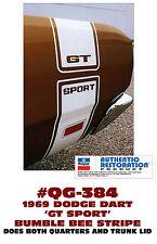 QG-384 1969 DODGE DART - GT SPORT BUMBLE BEE STRIPE - GT SPORT CUTOUT - LICENSED