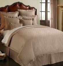 Luxury Hotel Athena King Bedskirt~2 Euro Shams~Taupe~Blue~Gold Nip $169~3 Pc Set