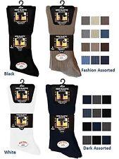 """6 Mens Non Elastic 100% Cotton """"BIG FOOT"""" Loose Wider Top Socks UK 11-14"""