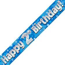 Azul Happy 2 cumpleaños METALIZADO Letrero De Fiesta Decoración Estrellas