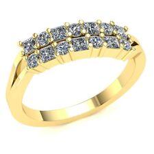 1carat Princess Cut Genuine Diamond 2Row Stackable Wedding Band Ring 10K Gold