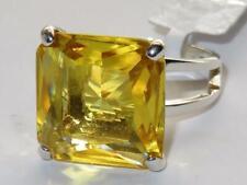LOAS871 CITRINE YELLOW PRINCES CUT  STERLING SILVER 925 SIMULATED DIAMOND RING