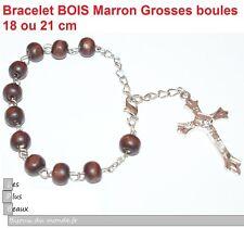 Bracelet CHAPELET CRISTIANO ROSARY en BOIS BRUN perles 8mm NEUF