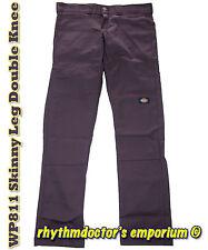Dickies Mens WP811 DU Skinny Leg Straight Fit Double Knee Work Pant Deep Purple