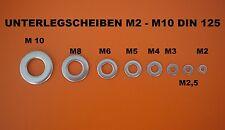 UNTERLEGSCHEIBEN M2 - M2,5 - M3 - M4 - M5 - M6 -M8-M10-M12 A2 EDELSTAHL DIN 125
