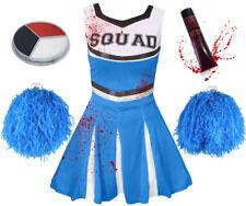 CHILDRENS KIDS BLUE ZOMBIE CHEERLEADER GIRLS HALLOWEEN FANCY DRESS COSTUME