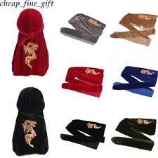 Men Velvet Sequin Durags China Dragon Bandana Wrap Headscarf Unisex Women Turban