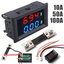 DC 10/50/100A Dual Voltmeter Ammeter Blue + Red LED Amp Dual Digital Volt Gauge
