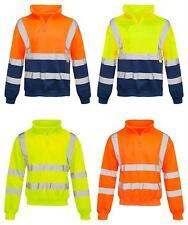 Mens Long Sleeve Quarter Zip Hi Vis Fleece Sweatshirt 2 Two Tone Jumper Top