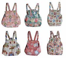 Rucksack Baumwolle gewebt Eulen Muster Backpack Stoff Schule Tasche leicht klein