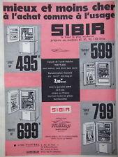 PUBLICITÉ 1960 LE FROID SANS MOTEUR - SIBIR - PARIGEL CONFORLUX