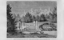 Stampa antica ZUNI PUEBLO altare rovine New Mexico United States 1861 Old print