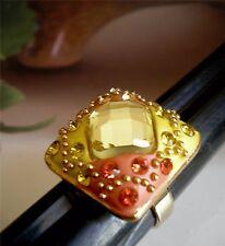 Gorgeous Floral Design Ring Gold, Black Tones Size Adjustable