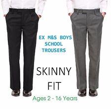 Ex M&S Boys Black Grey School Trousers Skinny Fit Age 7 8 9 10 11 12 13 14 15 16