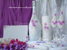 Personalized Wedding Purple Set Flute Candle Toast Glass Lilac Violet Roses Boho