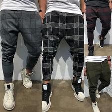 3956aea630729a UK Mens Plaid Checks Skinny Harem Trousers Pants Joggers Slim Fit Casual  Bottoms