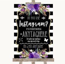 Wedding Sign Black & White Stripes Purple Instagram Social Media Photo Sharing