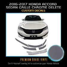 Front Grille Chrome Delete Overlay For 2016-2017 Honda Accord Sedan - Flat Matte