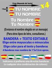pp50 4 x Bandera España Nombre editable Pegatina casco bicicleta Vinilo adhesivo