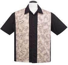 Steady RUM Tiki Retrò Rockabilly Hawaiano Camicia da Bowling-Nero-Taglia S - 3XL