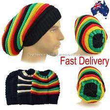 Jamaica Jamaincan Reggae Striped Slouchy Stretchy Hippie 70s BeanieTam Rasta Hat