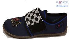 ROHDE Schuhe Hausschuhe blau Textil Klettverschluss Rennauto Gummisohle NEU