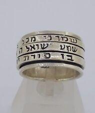 Sterling Silver 925 Shema Israel Spinning Rotating 3 Rings Kabbalah 3 Prayers