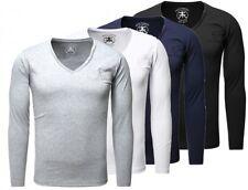 Akito Tanaka Herren Uni Longsleeve langarm T-Shirt einfarbig tiefer V-Ausschnitt