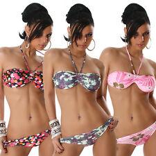 Sexy Halter Neck Bandeau Bikini Swimwear Swimsuit New Flowers Circle