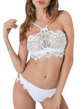 Sexy White Bridal Lace Bralette Underwear Set Bra Lingerie Bride Bustier Halter