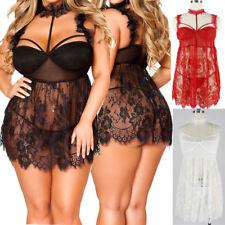 Women's Sexy Lace Floral Dress Babydoll Lingerie Nightwear Sleepwear Plus M-3XL