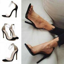 Womens Transparent Open Toe Clear Strap Stilettos Heels Sandals Party Show 35-40
