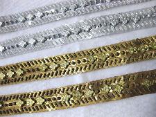 lfm multi weiß R17 14mm breit Borte mit Perlen creme gold