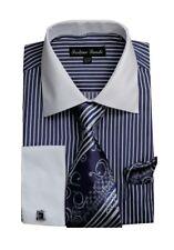 Men's Striped Dress Shirt w/ French Cuff Links, Tie & Hanky Set #631 Navy, Red